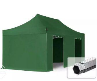 Professional összecsukható sátrak PROFESSIONAL 400g/m2 ponyvával, alumínium szerkezettel, 4 oldalfallal, ablak nélkül - 3x6m zöld