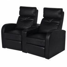 VID TV néző fotel/mozifotel pohártartóval - 2 személyes -fekete