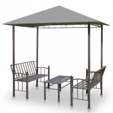 VID antracitszürke kerti pavilon asztallal és paddal 2,5x1,5x2,4