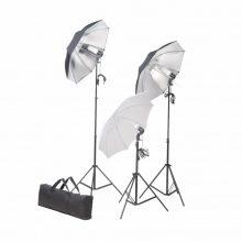 Stúdió felszerelés 3 ernyővel, 3 lámpával