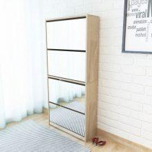 VID 4 szintes tükrös tölgy cipőszekrény 63 x 17 x 134 cm