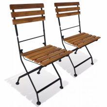 VID 2 darab összecsukható kerti akácfa szék 40 x 46 x 85 cm
