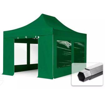 Professional összecsukható sátrak PROFESSIONAL 400g/m2 ponyvával, alumínium szerkezettel, 4 oldalfallal, panoráma ablakkal - 3x4,5m zöld