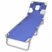 VID Összecsukható napozóágy fejpárnával és állítható háttámlával - kék