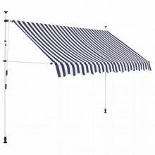 VID Manuálisan feltekerhető napellenző - 250 cm - kék fehér csíkokkal