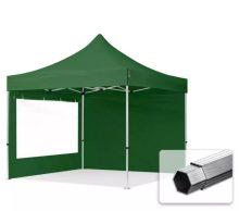 Professional összecsukható sátrak PROFESSIONAL 400g/m2 ponyvával, alumínium szerkezettel, 2 oldalfallal, panoráma ablakkal -  3x3m zöld