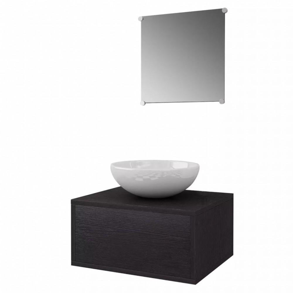 3 részes fürdőszoba bútor szett fekete színben, ovális mosdókagylóval - Discontmania.hu