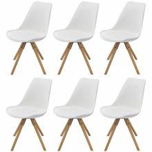 6 db bükkfa/műbőr szék fehér színben