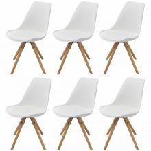 VID 6 db bükkfa/műbőr szék fehér színben