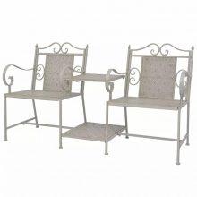 VID 2 db-os acél kerti szék szett - szürke
