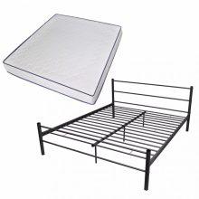 """VID Fém ágy 180x200 cm """"V07"""", memóriahabos matraccal, fekete színben"""