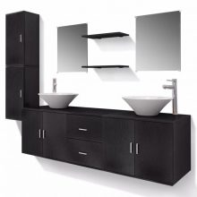 11 részes variálható fürdőszoba bútor szett fekete színben, csapteleppel