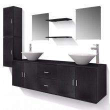 VID 11 részes variálható fürdőszoba bútor szett fekete színben, csapteleppel