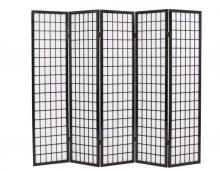 VID 5 paneles, fekete, japán stílusú paraván 200 x 170 cm