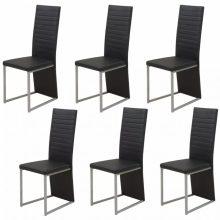 6 db műbőr borítású étkező szék fekete színben