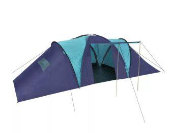 VID Poliészter kemping sátor 9 személyes kék-sötétkék színben