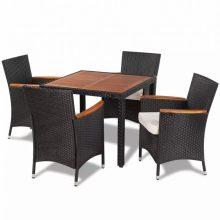 4 személyes 5 részes polyrattan étkező garnitúra, kemény fa asztallappal