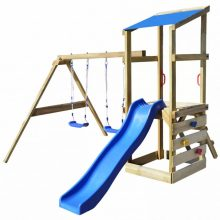 Univerzális kerti játszótér / játszóház mászókával, hintákkal, homokozóval és csúszdával 290 x 260 x 235 cm