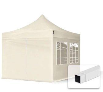 Professional összecsukható sátrak ECO300g/m2 ponyvával, acélszerkezettel, 4 oldalfallal- 3x3m bézs