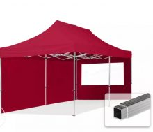 Professional összecsukható sátrak ECO 300 g/m2 ponyvával, alumínium szerkezettel, 2 oldalfallal - 3x6m bordó