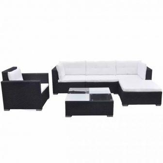 VID 17 részes rattan kerti bútor fekete