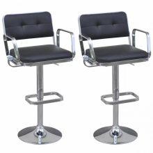 2db bárszék műbőr üléssel, karfával - fekete színben