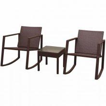 VID 3 darabos barna polyrattan kültéri hintaszék és asztal