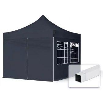 Professional összecsukható sátrak ECO 300g/m2 ponyvával, acélszerkezettel, 4 oldalfallal - 3x3m fekete