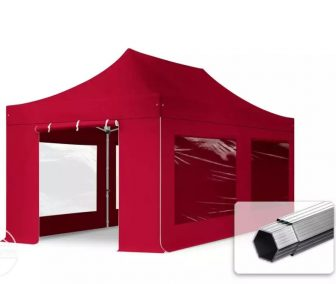 Professional összecsukható sátrak PROFESSIONAL 400g/m2 ponyvával, alumínium szerkezettel, 4 oldalfallal, panoráma ablakkal - 3x6m bordó