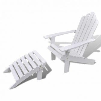 VID Fa napozóágy lábtartóval Fehér színben