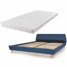VID Kárpitozott ágy ágyráccsal, matraccal, 180x200 cm, kék színben