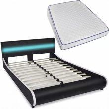 """PU bőr ágy 140x200 cm """"V11"""" memóriahabos matraccal, LED világítással, fekete színben"""