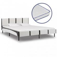 VID fehér és fekete műbőr ágy memóriahabos matraccal 180x200 cm