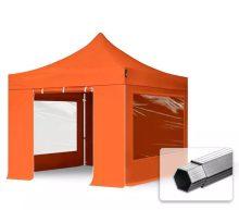 Professional összecsukható sátrak PROFESSIONAL 400g/m2 ponyvával, alumínium szerkezettel, 4 oldalfallal, panoráma ablakkal -  3x3m narancssárga