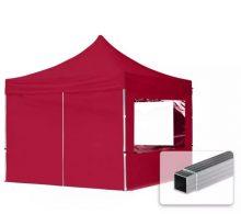 Professional összecsukható sátrak ECO 300 g/m2 ponyvával, alumínium szerkezettel, 4 oldalfallal - 3x3m bordó