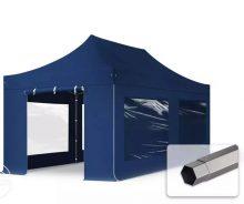 Professional összecsukható sátrak PREMIUM 350g/m2 ponyvával, acélszerkezettel, 4 oldalfallal, panoráma ablakkal - 3x6m sötétkék