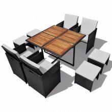 8 személyes modern 21 részes polyrattan étkezőgarnitúra barna-fekete színben
