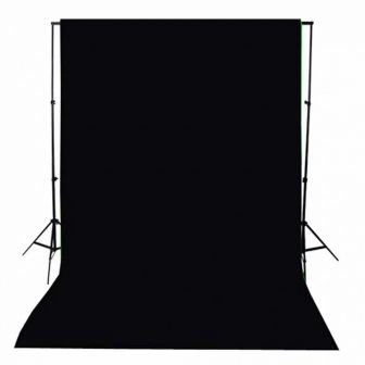 VID Hordozható fekete pamut fotóháttér 500x300 cm