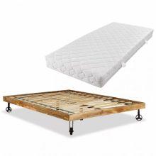 VID Krevet od grubo obrađenog drva manga s madracem 140 x 200 cm