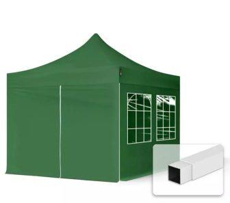 Professional összecsukható sátrak ECO 300g/m2 ponyvával, acélszerkezettel, 4 oldalfallal - 3x3m zöld