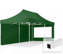 Professional összecsukható sátrak ECO 300g/m2 ponyvával, acélszerkezettel, 2 oldalfallal, panoráma ablakkal - 3x6m zöld