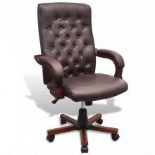 VID Műbőr Chesterfield irodai szék barna