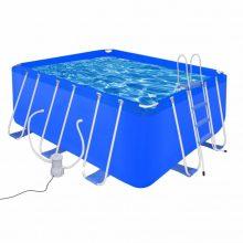 Fémvázas medence vízforgatóval és létrával [400 x 207 x 122 cm]