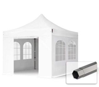 Professional összecsukható sátrak PREMIUM 350g/m2 ponyvával, acélszerkezettel, 4 oldalfallal, hagyományos ablakkal - 3x3m fehér