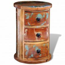 VID Antikolt hatású kerek tömör fa 3-fiókos éjjeli szekrény