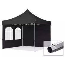 Professional összecsukható sátrak PROFESSIONAL 400g/m2 ponyvával, alumínium szerkezettel, 2 oldalfallal, hagyományos ablakkal -  3x3m fekete