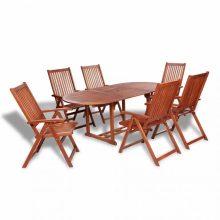 VID 7 részes kerti fa garnitúra - kihúzható asztallal