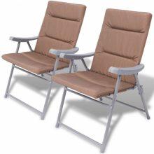 2 db összecsukható kerti szék párnával barna színben