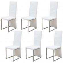 6 db műbőr borítású étkező szék fehér színben