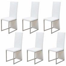 VID 6 db műbőr borítású étkező szék fehér színben